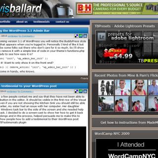 TravisBallard.com Front page
