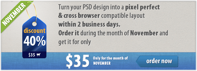 November Discount: 40% Off on Static Layout Coding